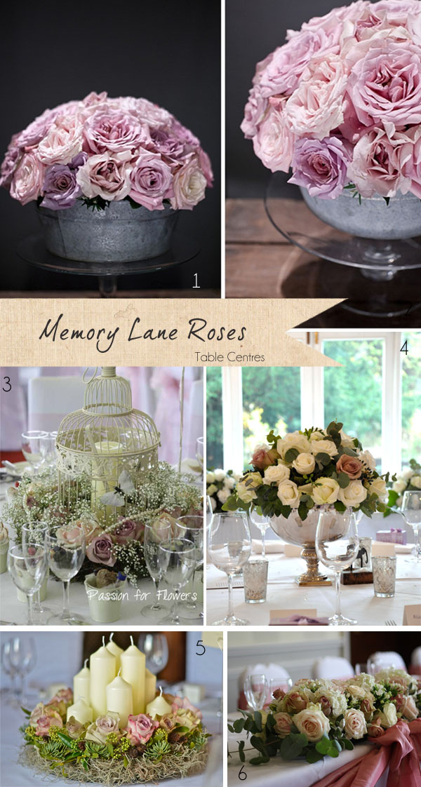 memory lane roses wedding flowers table centre piece