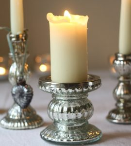 mercury silver candlestick chunky church candle