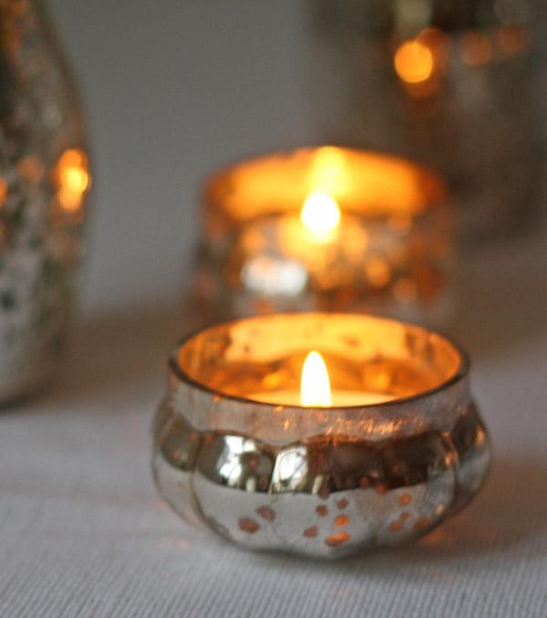 mini mercury silver floating tea light holders