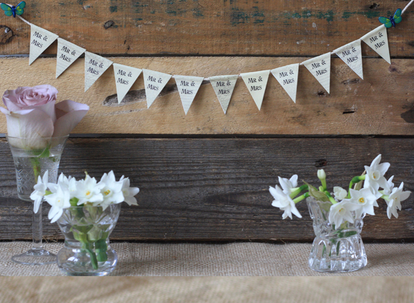 mini paper bunting mr and mrs