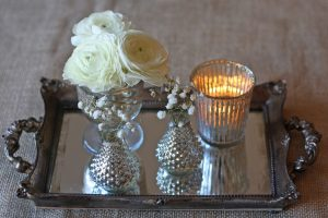 mirror tray table centre old gold