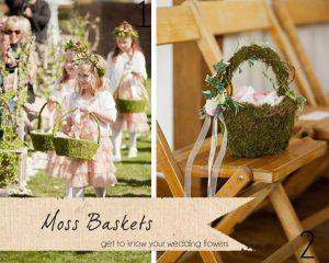 moss petal baskets wedding
