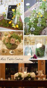 moss wedding table centres