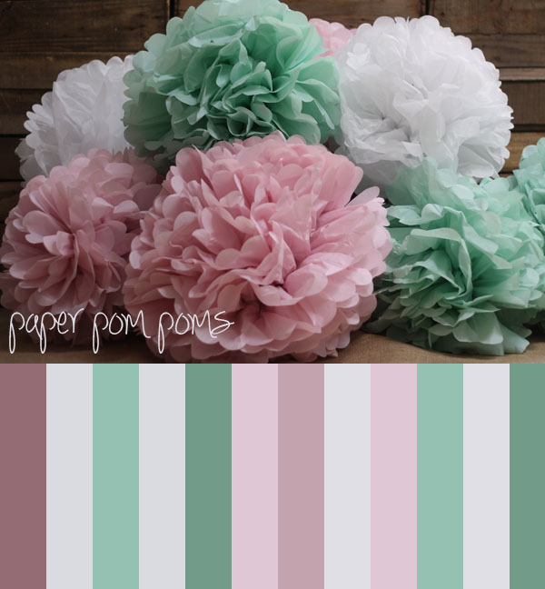pastel paper poms poms pink green white