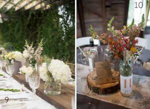 rustic centrepices long wedding tables