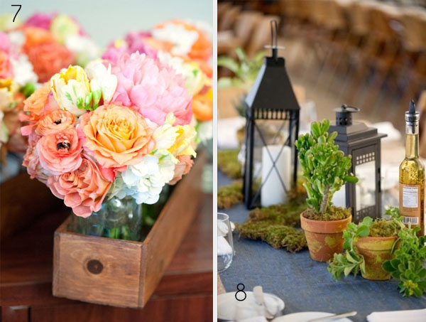rustic centrepices wedding