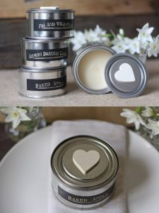 scented candles in tins wedding favours
