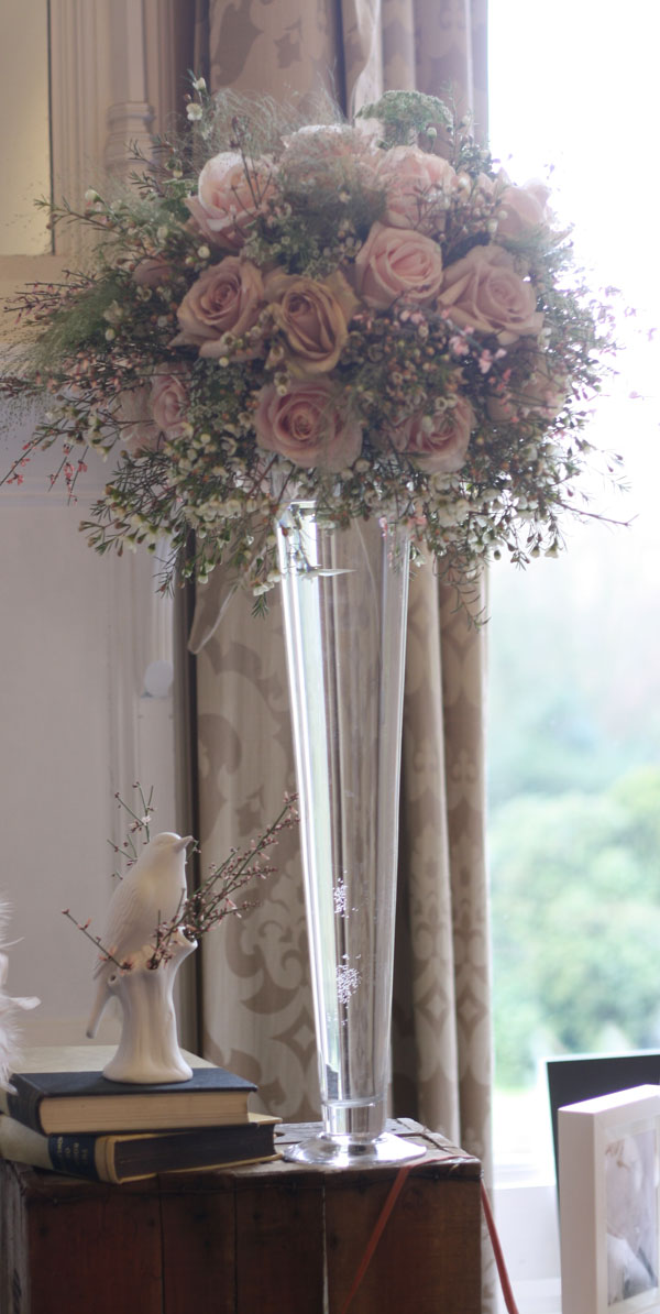 tall wedding flowers roses centrepiece