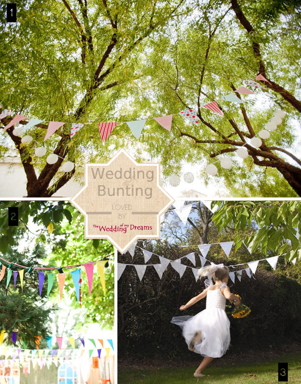 wedding bunting hanging outside
