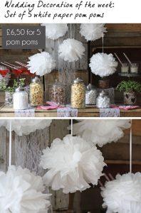 white paper pom poms wedding decoration
