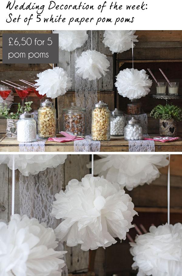 pink paper pom poms the wedding of my dreams blog. Black Bedroom Furniture Sets. Home Design Ideas