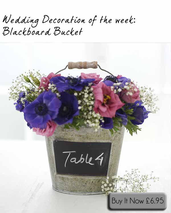 blackboard bucket wedding table decorations