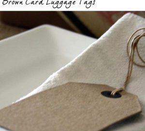 brown card luggage tags wedding
