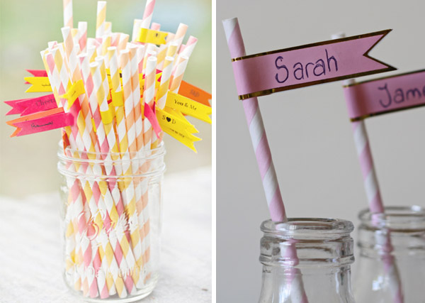 flags for straws wedding place setting