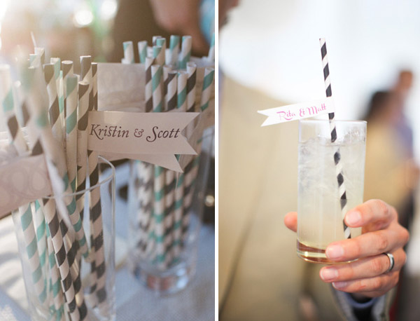 flags with bride and groom name paper straws wedding