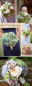 muted pastel hydrangea wedding bouquets