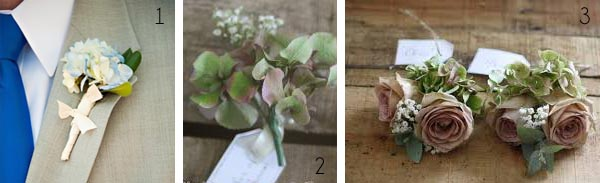 muted vintage hydrangea buttonholes