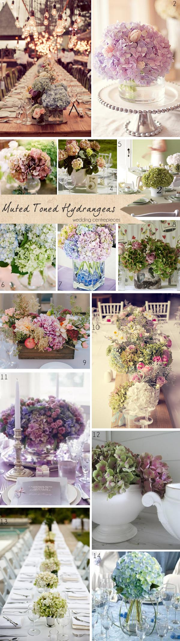 muted vintage hydrangea wedding table centrepieces