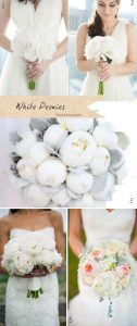 white peonies wedding bouquets