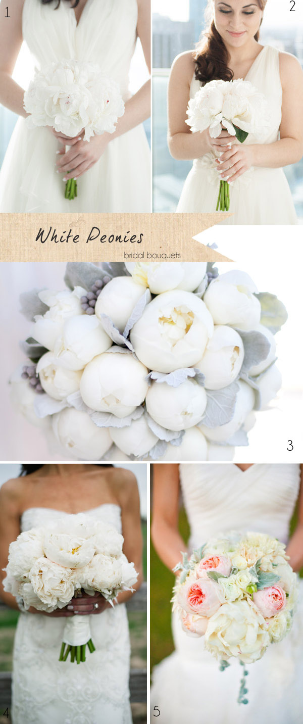 white peonies wedding bouquets