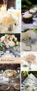 white peonies wedding centre pieces