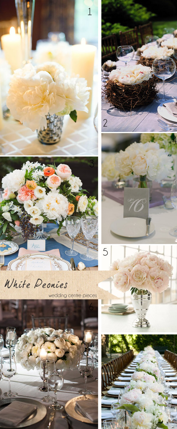 white peonies wedding centre pieces