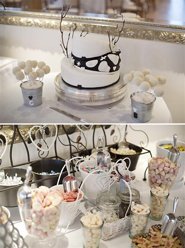 winter wedding candy buffet