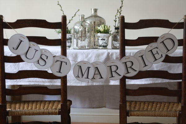 DIY alphabet garlands spell out your own words Just Married