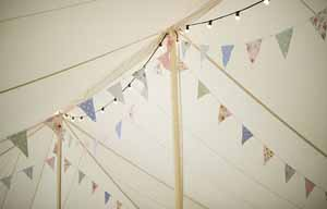 bunting at vintage country garden weddings
