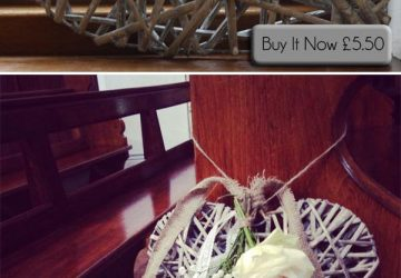 grey willow heart hanging wedding heart pew end