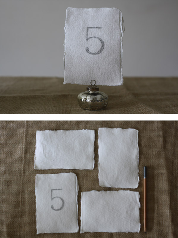 handmade postcard size paper table number cards wedding