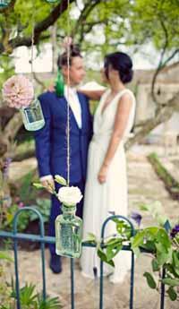 hanging bottles wedding flowers