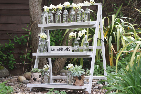 ladders with shelves for wedding styling