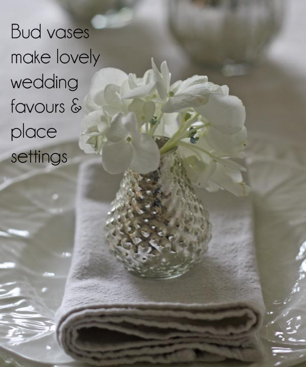 mercury silver bud vases wedding favours lace settings