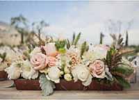 muted-flower-wooden-box-centerpiece wedding
