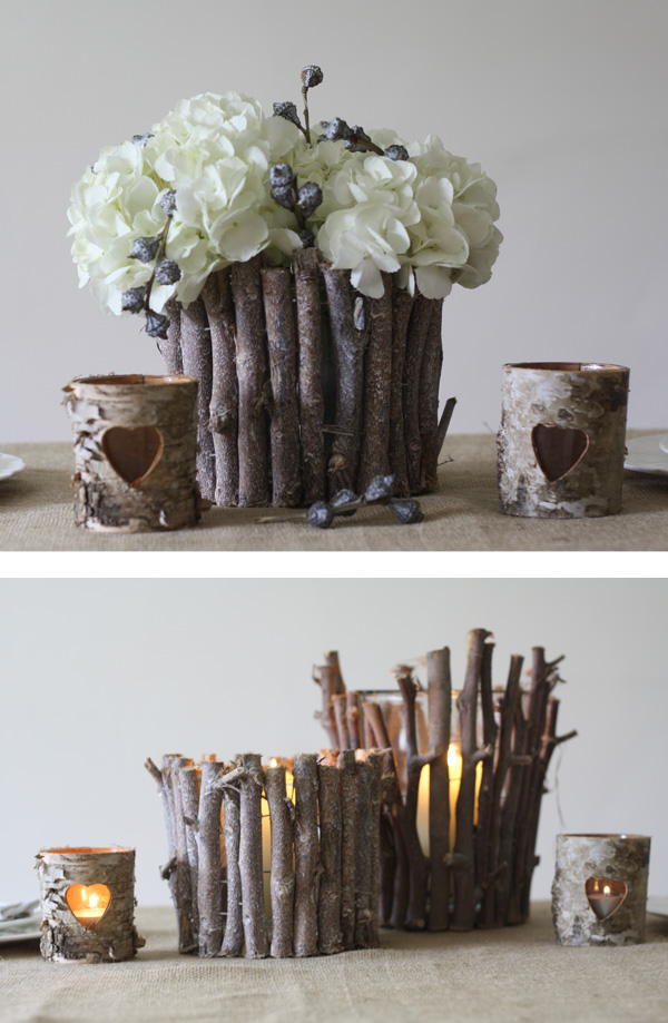 rustic wedding table decorations centrepiece twig vases lanterns woodland wedding