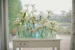 wedding table decorations glass bottles