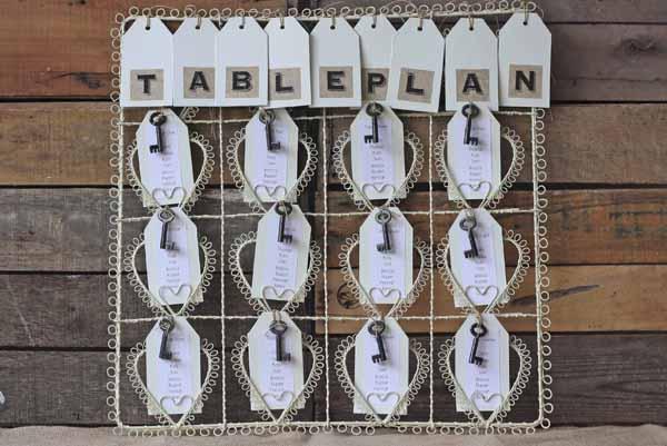 Rustic Vintage Wedding Table Plan Cream Heart Frame