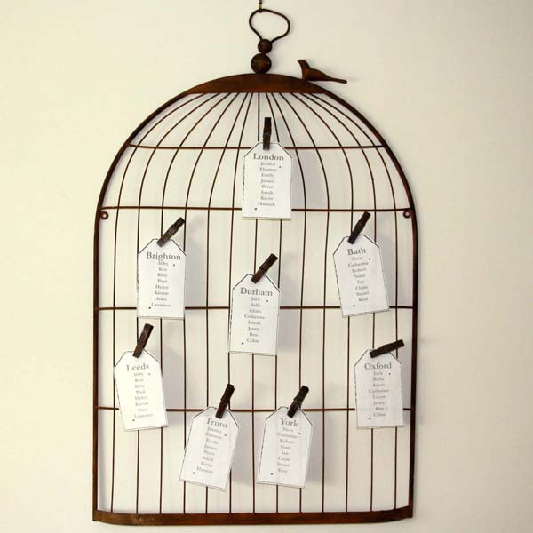 birdcage vintage wedding table plan