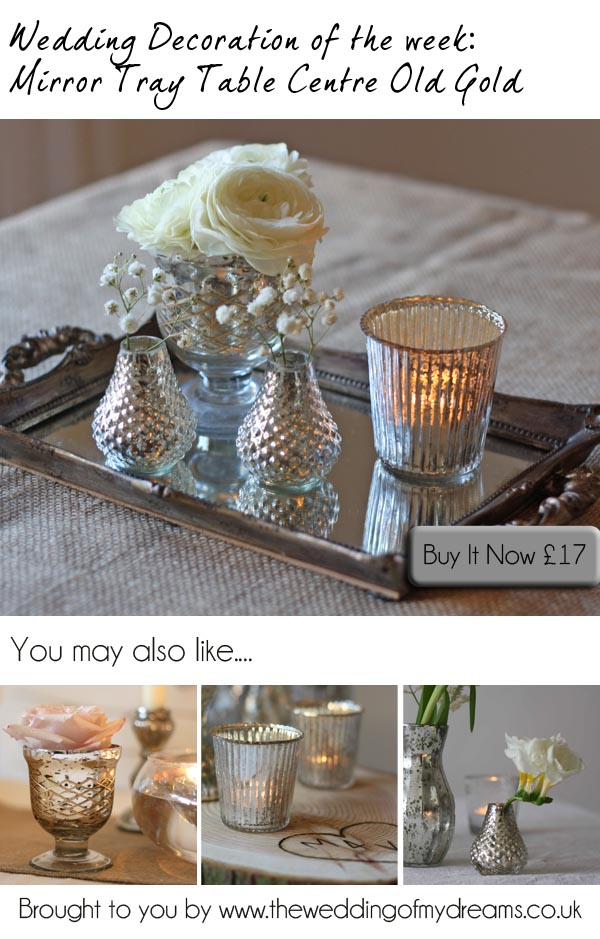 mirror tray wedding table decorations gold