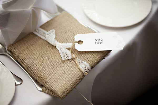 rustic country wedding favour hessian wrapping paper with lace ribbon