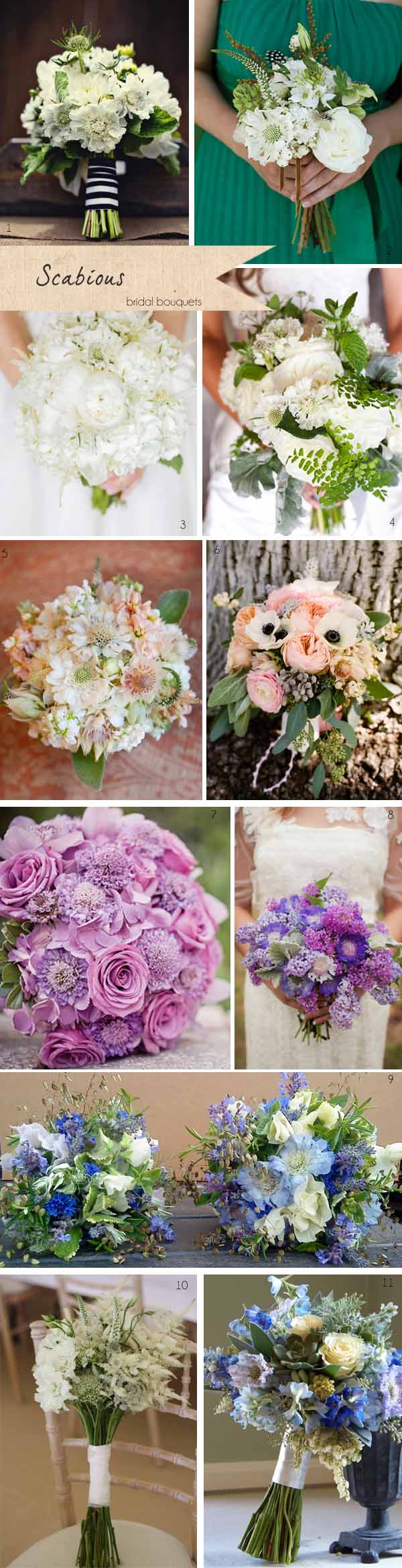 scabious wedding bridal bouquets