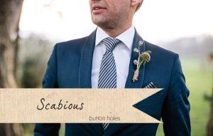 scabious wedding button holes