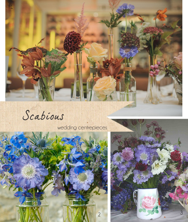 scabious wedding centrepieces