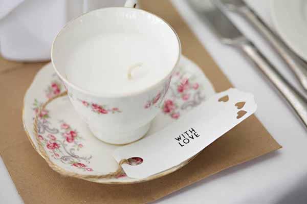 vintage tea cup candle with love gift tags
