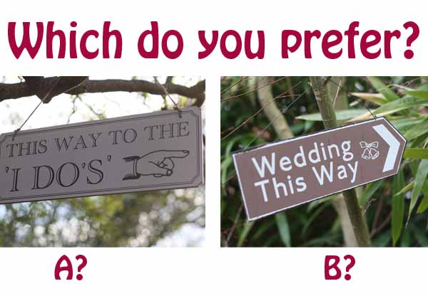 wedding directionsal signs