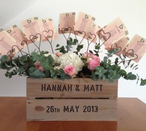 wedding table plan in vintage crate