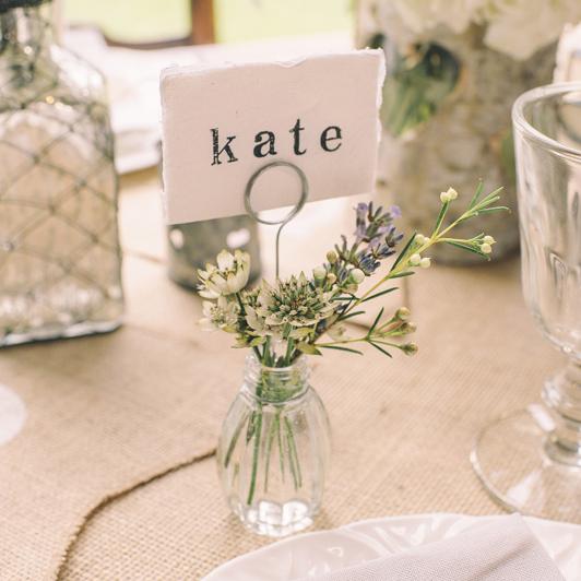 Bud Vase Wedding Place Card Holders