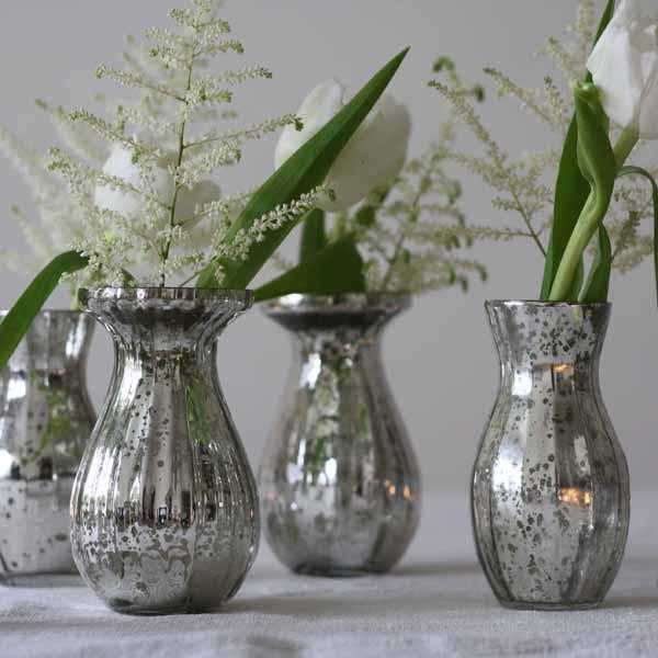 Dainty Mercury Silver Vases