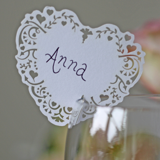 Heart Place Cards For Wine Glass